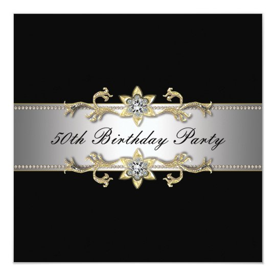 Black Gold Womans 50th Birthday Party Card