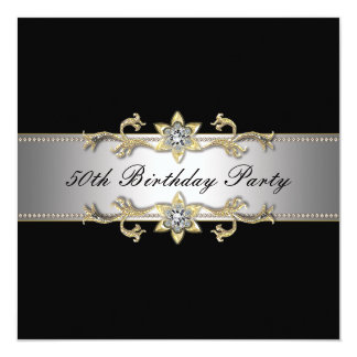 Black Gold Womans 50th Birthday Party 13 Cm X 13 Cm Square Invitation Card