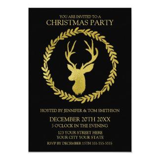 Black Gold Wreath Deer Christmas Party Card