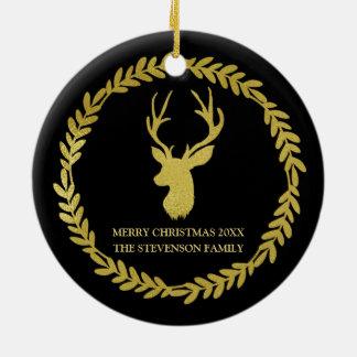 Black Gold Wreath Deer Christmas Photo Christmas Ornament