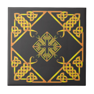 Black Golden Butterfly Celtic Knot Tile