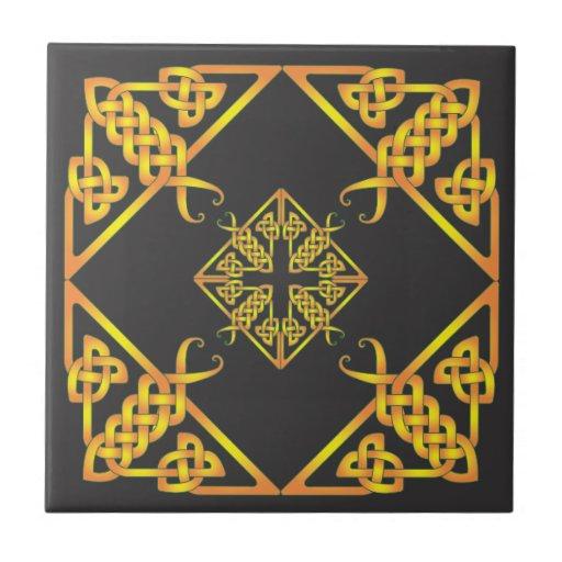Black Golden Butterfly Celtic Knot Tile