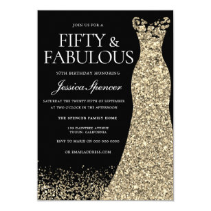 Black Golden Dress Womans 50th Birthday Party Invitation