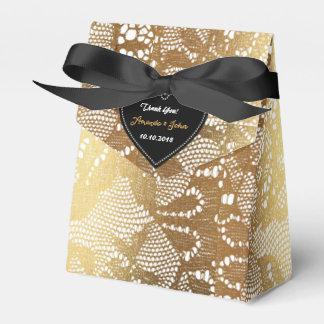 Black Golden Glam Lace Wedding Favor Thank You Party Favour Boxes