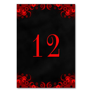 Black Goth Red Floral Reception Table Number Cards Table Card