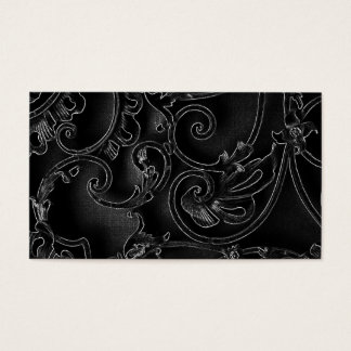Black gothic baroque swirl pattern business card