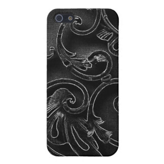 Black gothic baroque swirl pattern iPhone 5 cover