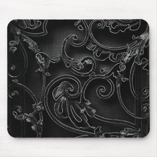 Black gothic baroque swirl pattern mouse mat