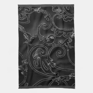 Black gothic baroque swirl pattern tea towel