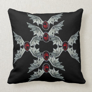 Black Gothic Blood Stone Bat Wings Throw Pillow