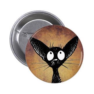 black gothic cat button badge