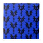 Black Gothic Dragons on Blue Pattern
