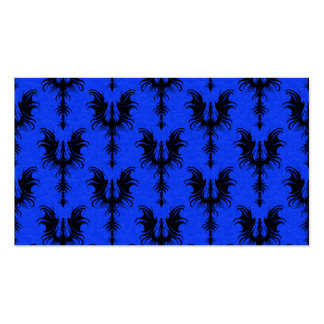 Black Gothic Dragons on Blue Pattern Business Card Templates