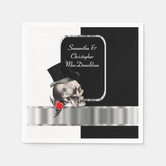 Black gothic groom skull wedding disposable napkin