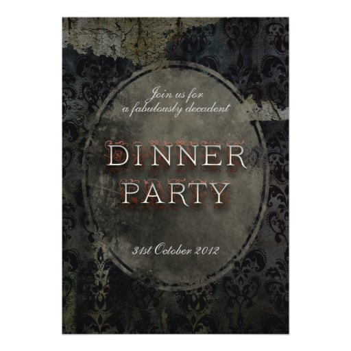 Black Gothic Grunge Dinner Party Invitation