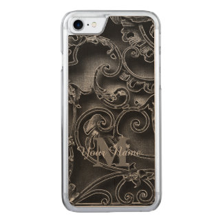 Black gothic pattern monogram carved iPhone 8/7 case