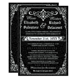 Black Gothic Victorian Damask Wedding Invitations