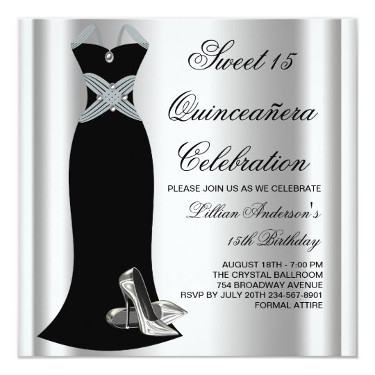Black Gown High Heel Shoes Sweet 15 Quinceanera Card