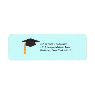 Black Graduation Cap Graduation Address Labels