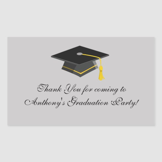 Black Graduation Cap Thank You Rectangle Sticker