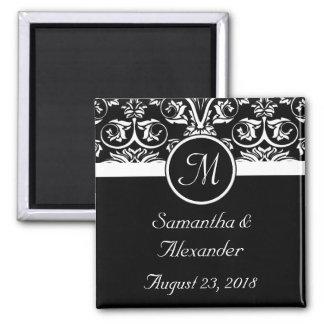 Black Grand Insignia Monogram Favor /Save the Date Refrigerator Magnets