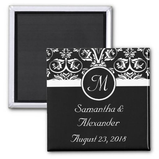 Black Grand Insignia Monogram Favour /Save the Dat Refrigerator Magnets