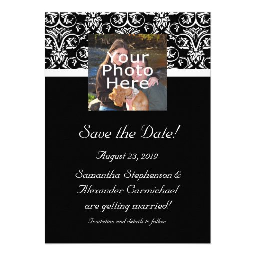 Black Grand Insignia Monogram Photo Save the Date Personalized Announcements