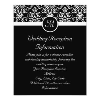 Black Grand Insignia Monogram reception insert or Flyer