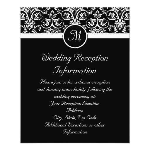 Black Grand Insignia Monogram reception insert or Custom Flyer