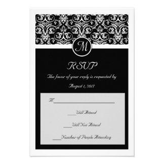 Black Grand Insignia Wedding Matching Small RSVP Custom Invites