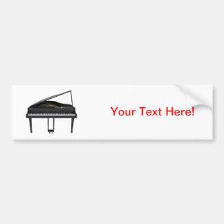 Black Grand Piano: 3D Model: Bumper Sticker
