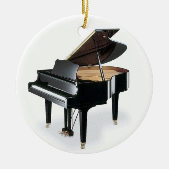 Black Grand Piano Music Christmas Round Ceramic Decoration