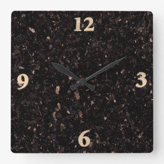 Black Granite Square Wall Clock