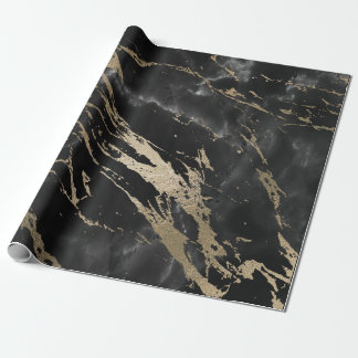 Black Graphite Deluxe Gold Marble Shiny Glam Wrapping Paper