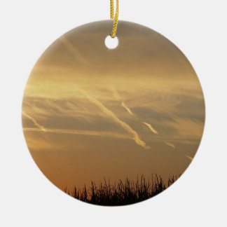 Black Grass Sunset Double-Sided Ceramic Round Christmas Ornament