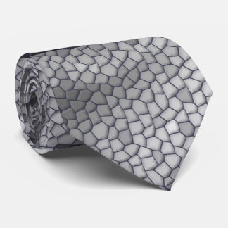 Black Gray Abstract Rose Mosaic Pattern Tie