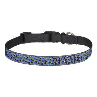 Black Gray and Blue Dots Pet Collar