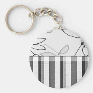 Black, Gray and White Floral (2) Basic Round Button Key Ring