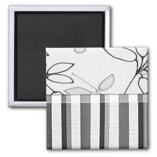 Black, Gray and White Floral (2) Square Magnet