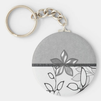 Black, Gray and White Floral (3) Basic Round Button Key Ring