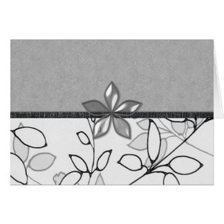 Black, Gray and White Floral (3) Greeting Card