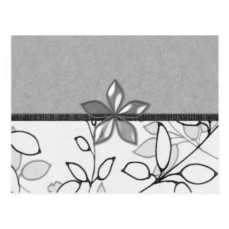 Black, Gray and White Floral (3) Postcard