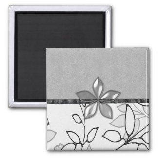 Black, Gray and White Floral (3) Square Magnet