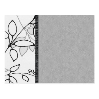 Black, Gray and White Floral Postcard
