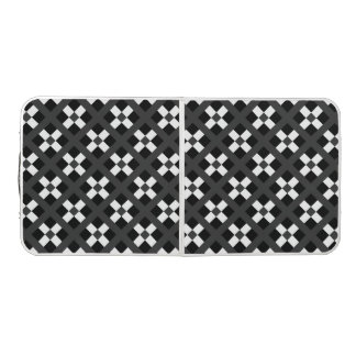 Black, Gray And White Geometric Pattern Beer Pong Table