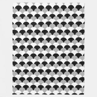 Black, Gray and White Gumdrop Design Fleece Blanket