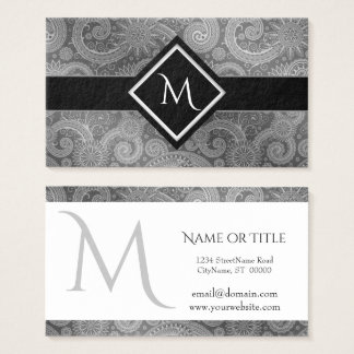 Black Gray and White Paisley Initial Business Card