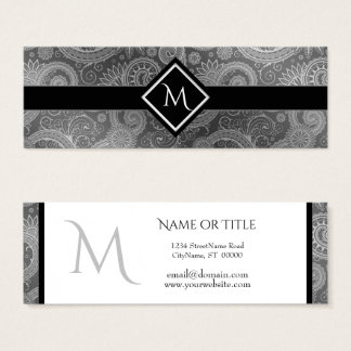 Black Gray and White Paisley Initial Slim Mini Business Card