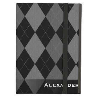 Black/Gray Argyle Cover For iPad Air