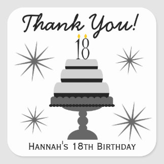 Black & Gray Cake 18th Birthday Favor Stickers